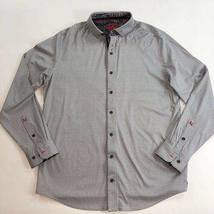 Au Noir Mens Button Front Cotton  Shirt Gray XL